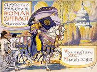 "Official program - Woman suffrage procession, Washington, D.C. March 3, 1913. Cover of program for the National American Women's Suffrage Association procession, showing woman, in elaborate attire, with cape, blowing long horn, from which is draped a ""vot Adam Cuerden [Public domain or Attribution], via Wikimedia Commons"