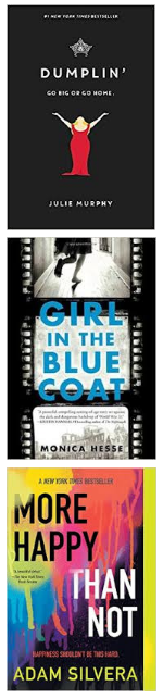 Nutmeg High School Nominees Book Covers Dumplin', Girl in the Blue Coat, More Happy Than Not