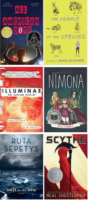 Nutmeg Book Covers: All American Boys, The Female of the Species, Illuminae, Nimona, Salt to the Sea, Scythe