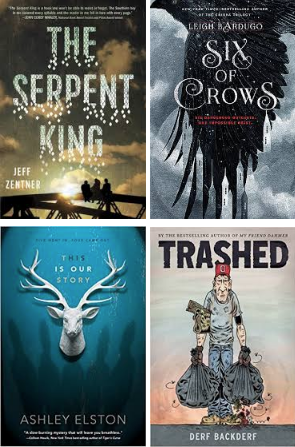 Nutmeg Book Covers: The Serpent King, Six of Crows, This is Our Story, Thrashed