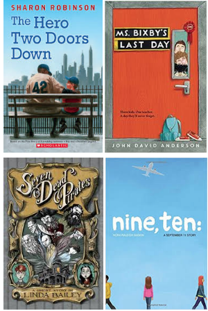 Nutmeg Book Covers: The Hero Two Doors Down, Ms. Bixby's Last Day, Seven Dead Pirates, Nine, Ten: A September 11 Story