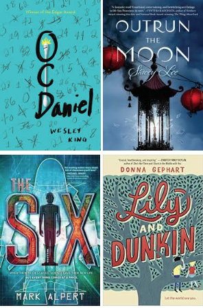 Nutmeg Book Covers: OCDaniel, Outrun the Moon, The Six, Lily and Dunkin