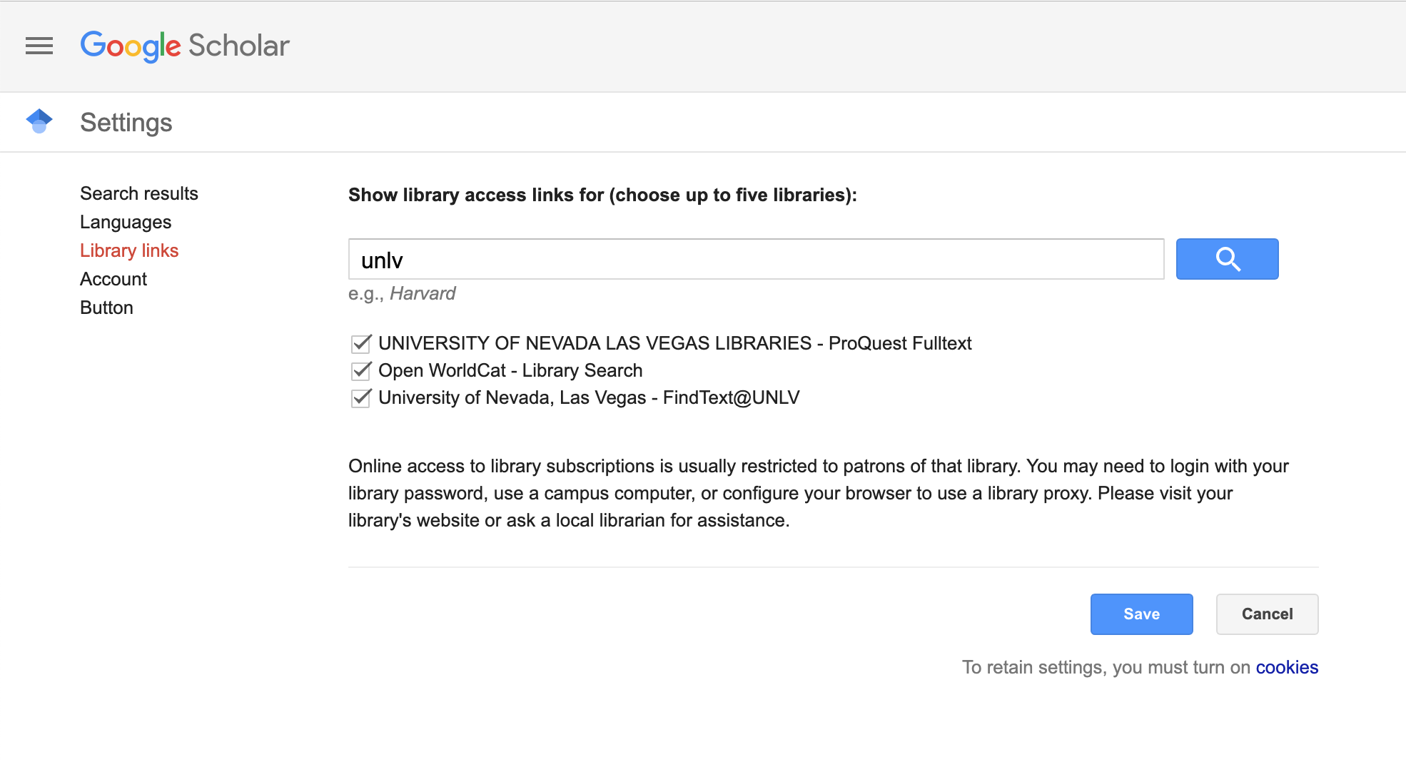 Google Scholar library links preferences