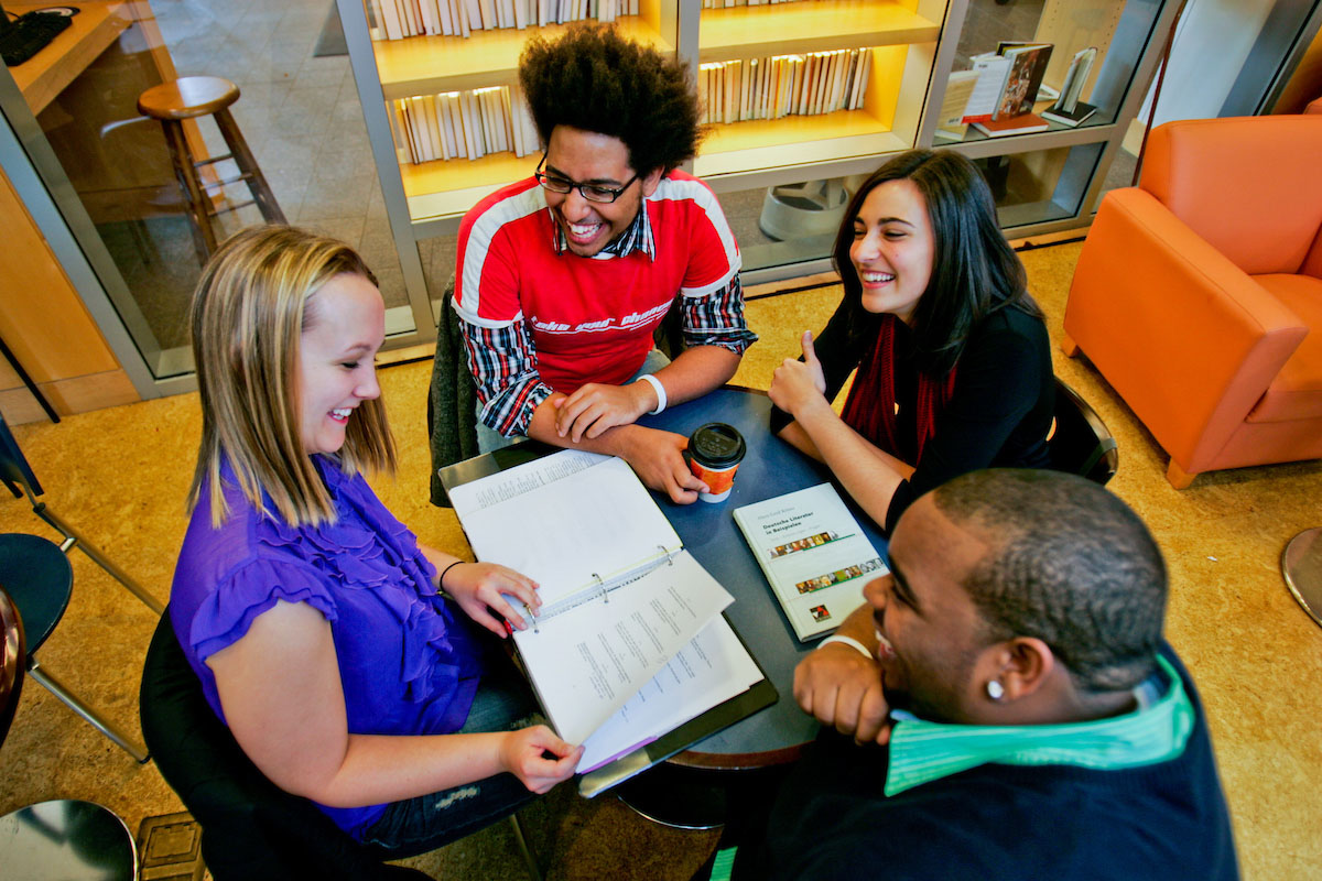 students meeting in the library