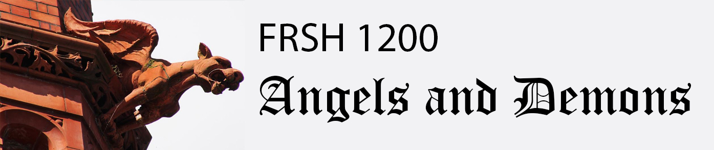 "A header with a picture of a red gargoyle on the left and the course title: FRSH 122: angels and Demons"" to the right in gothic script black text on a white background."