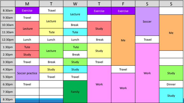 Weekly planner example, filled out with study, leisure and work periods.
