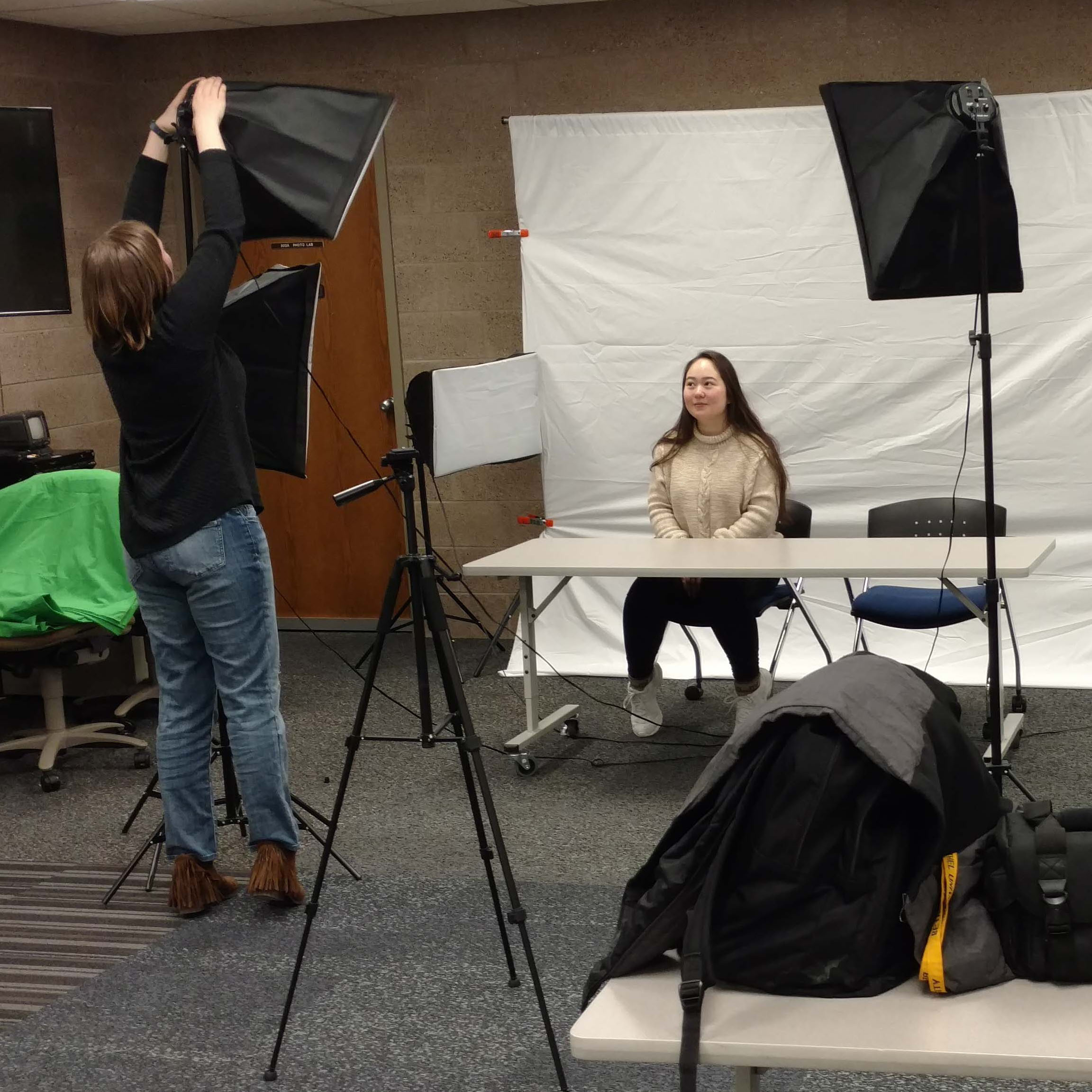 video recording set up in makerspace