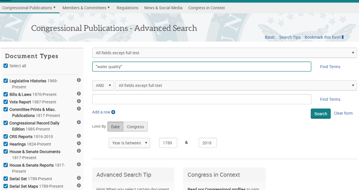 "Image of Congressional Publications Advanced Search screen showing the keywords ""water quality"""