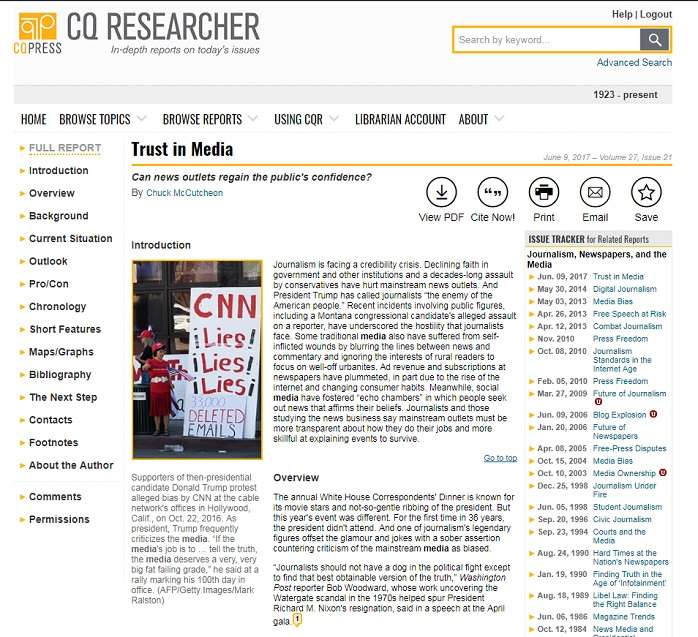 "The CQ Researcher database showing the ""Trust in Media"" report"