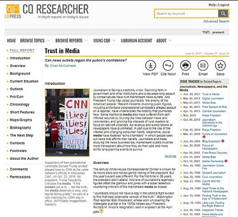 "Image of the CQ Researcher database showing the ""Trust in Media"" report"