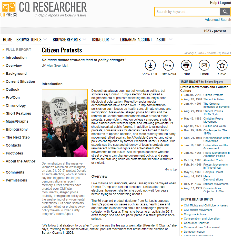 Image of the main page from a CQ database report about citizen protests.