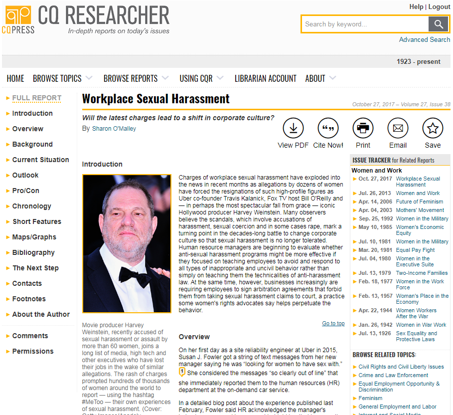 Image of main page of the CQ Researcher Report on Workplace Sexual Harassment