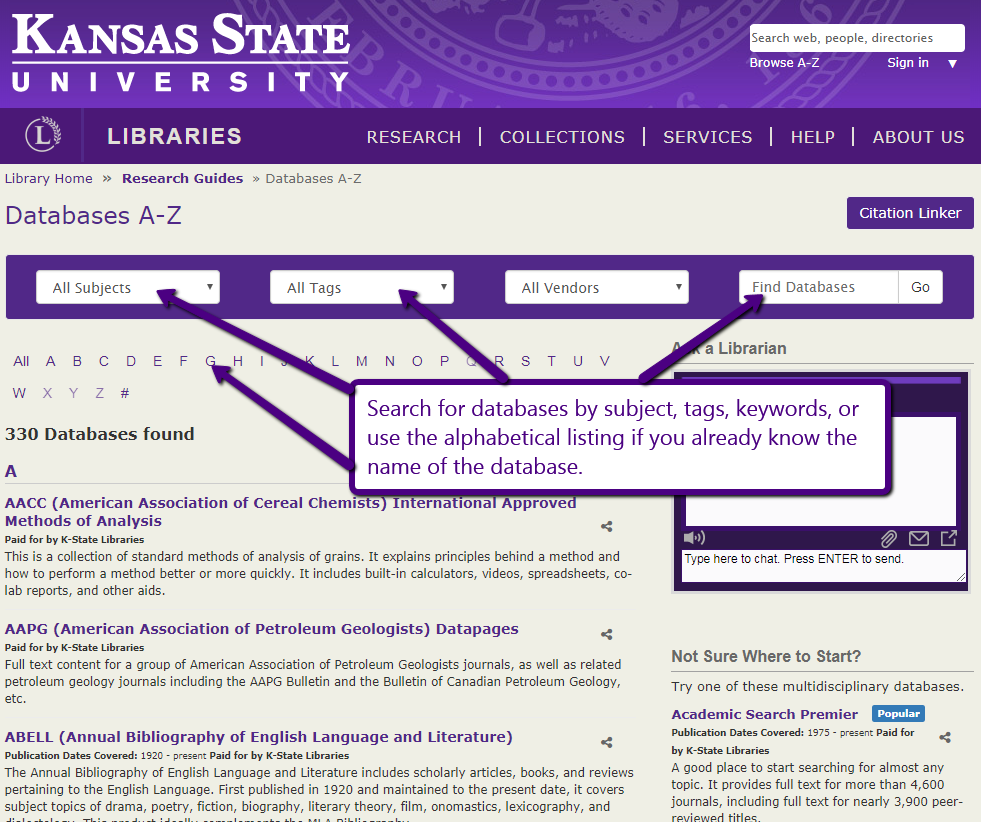 Image of the main page of the A to Z listing of databases