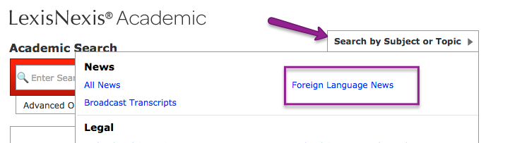 Screenshot of Foreign Language News option in LexisNexis