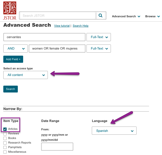 Screenshot of JSTOR Advanced Search options