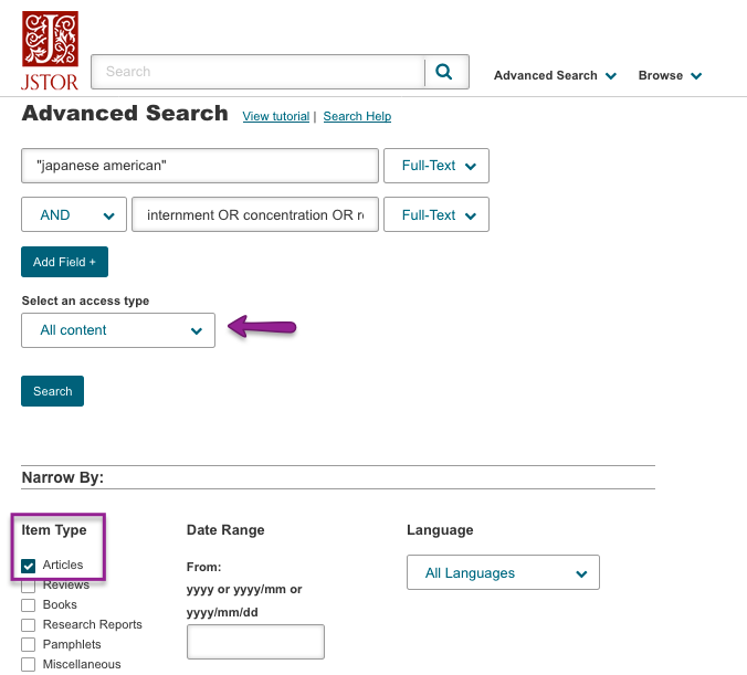 JSTOR Advanced Search options