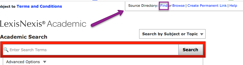 Screenshot of LexisNexis Source Directory Find link