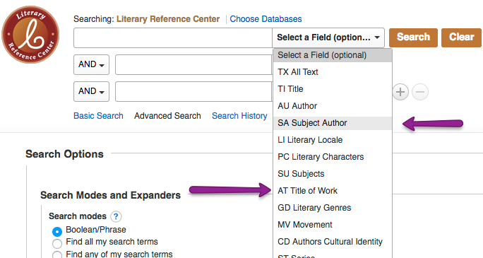 Screenshot of Literary Reference Center's advanced search dropdown menu.