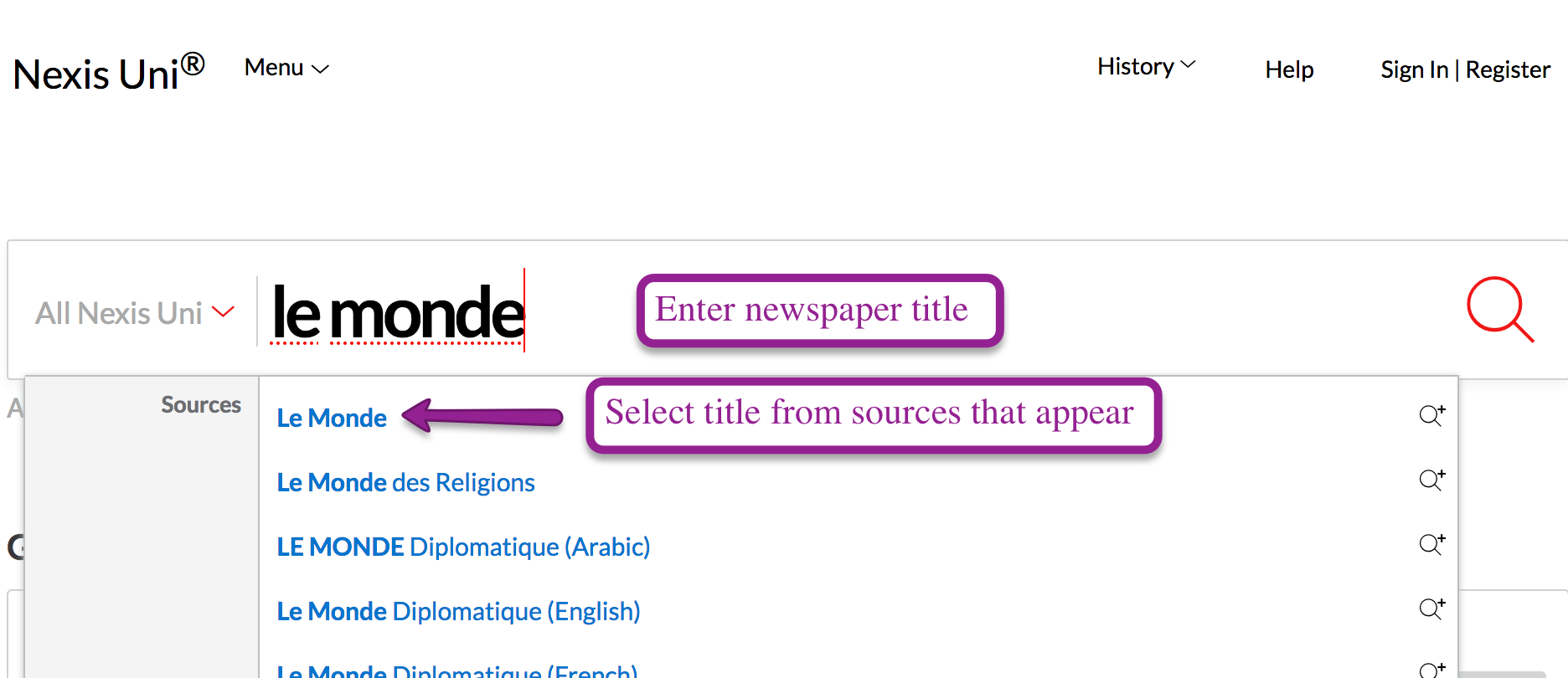 Screenshot of Nexis Uni search box displaying possible newspaper title matches