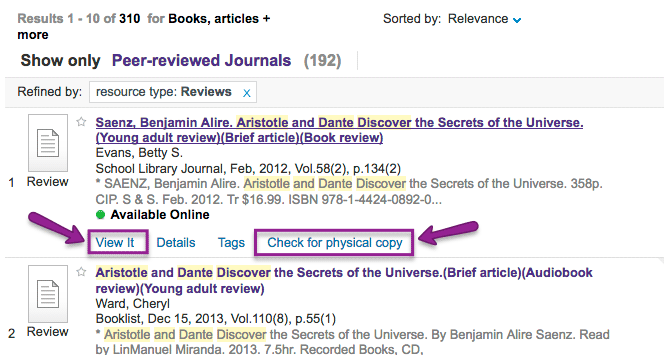 Screenshot of Search It showing a record of a book review and highlighting links to View It and Check for a Physical Copy tabs.