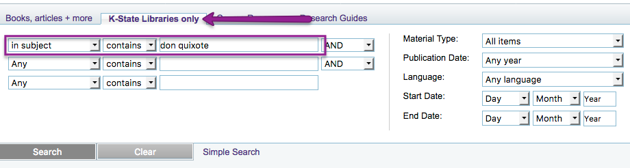 Search It advanced search using in subject option