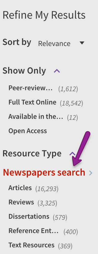 Screenshot of Newspaper Search option in Search It