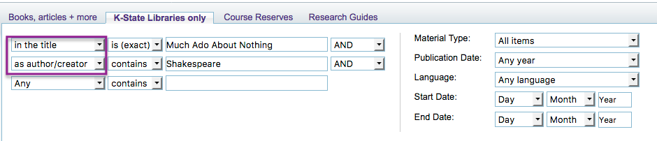 Search It Advanced Search using title and author fields