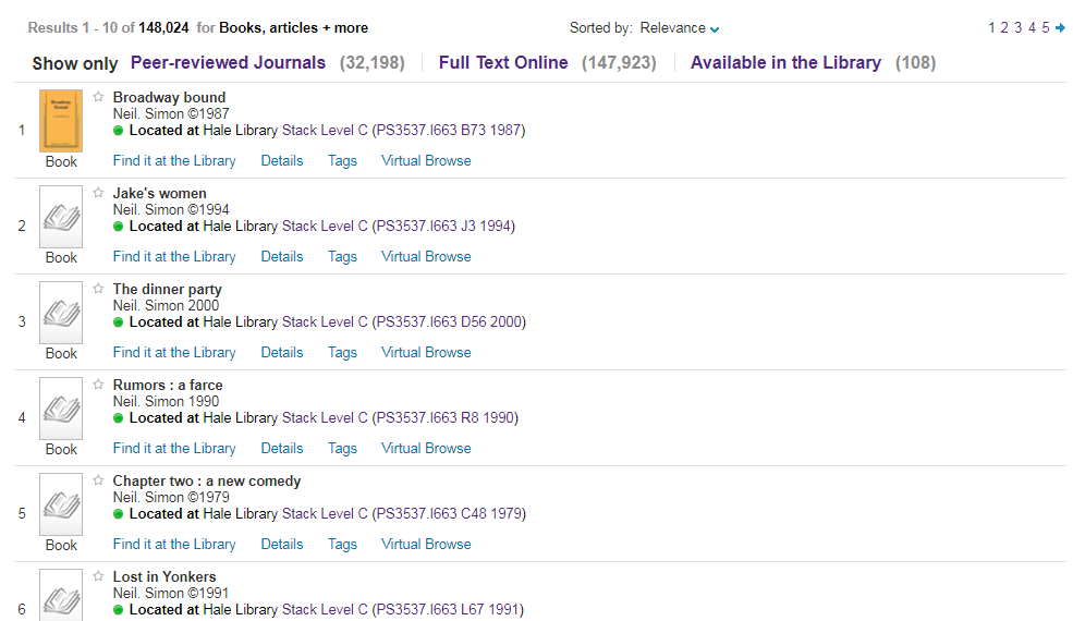 Search results area showing several books containing plays by Neil Simon