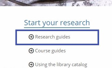 screen shot of research guides link