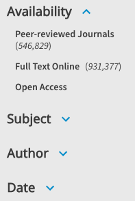 Screenshot of limiting to peer reviewed articles