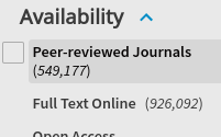 screenshot of peer-review filter