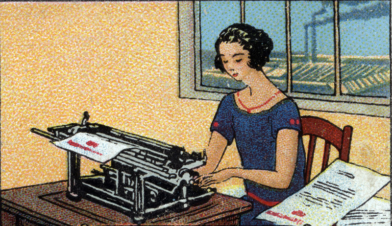 woman using a typewriter