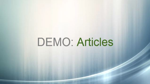Demo: Articles video