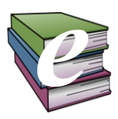 stack of books with letter E superimposed
