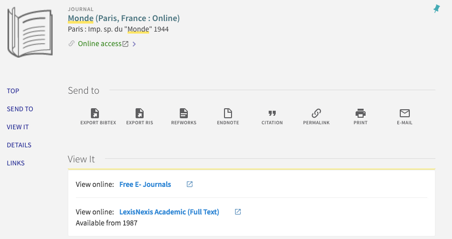 URI Libraries Search Entry for Le Monde online