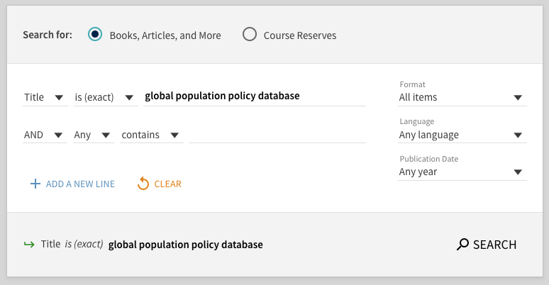 URI Libraries Search for Global Population Policy Database