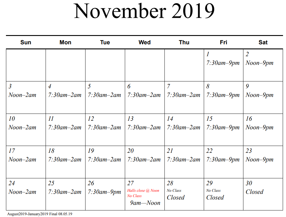 November 2019 library hours