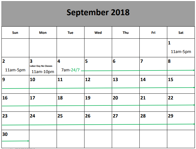 September 2018 library hours calendar
