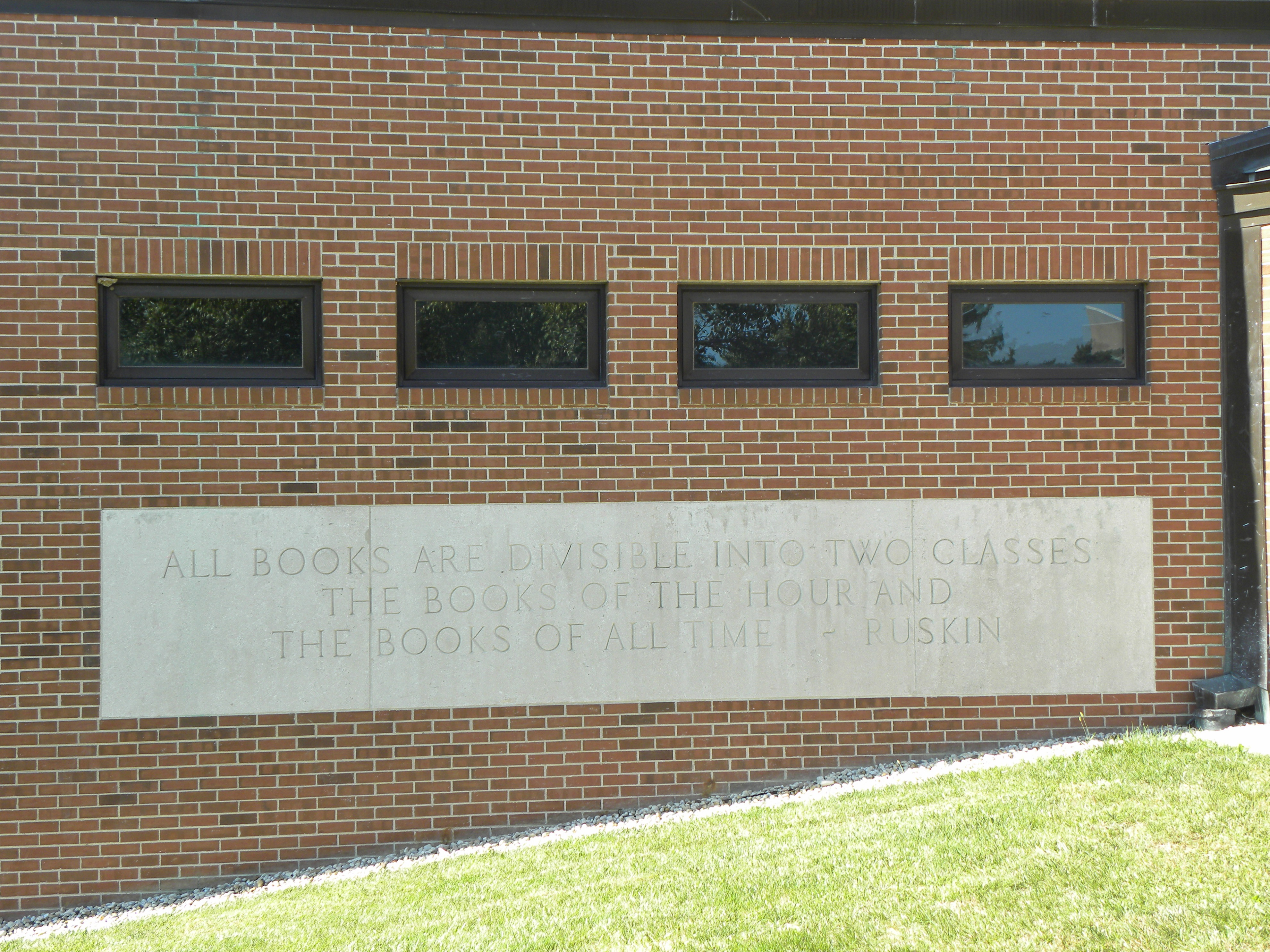 Ruskin quote on ZL east exterior wall