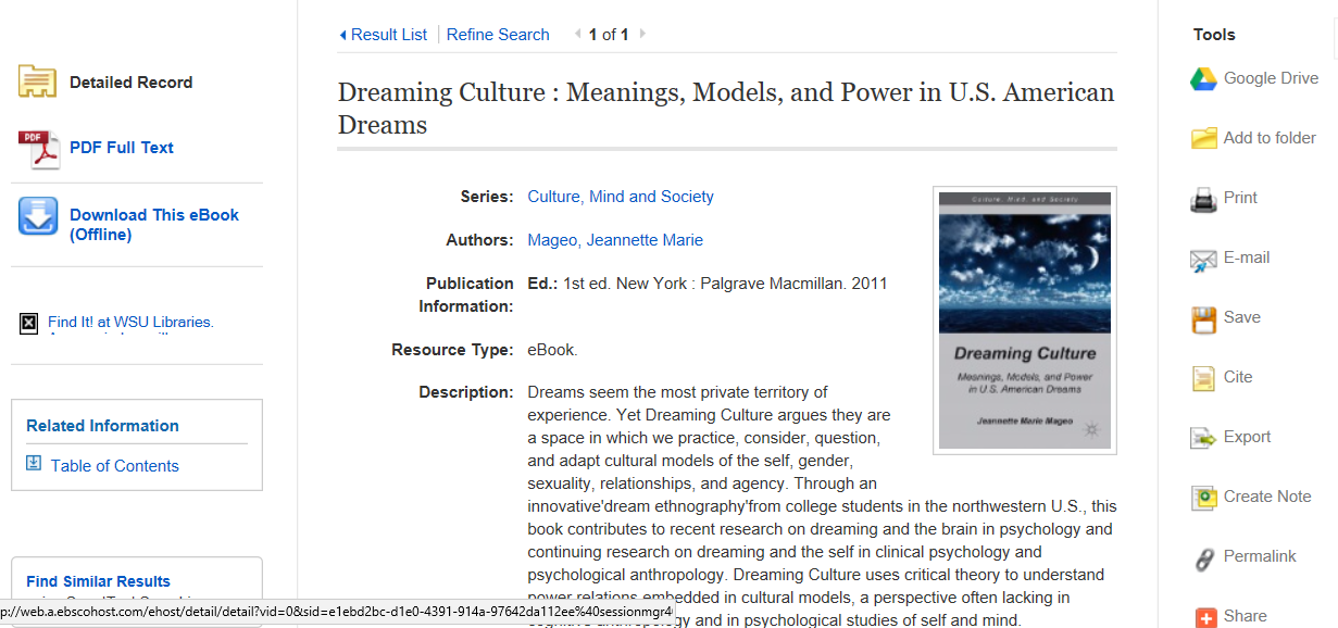 example of ebsco ebook record in ebsco ebook database