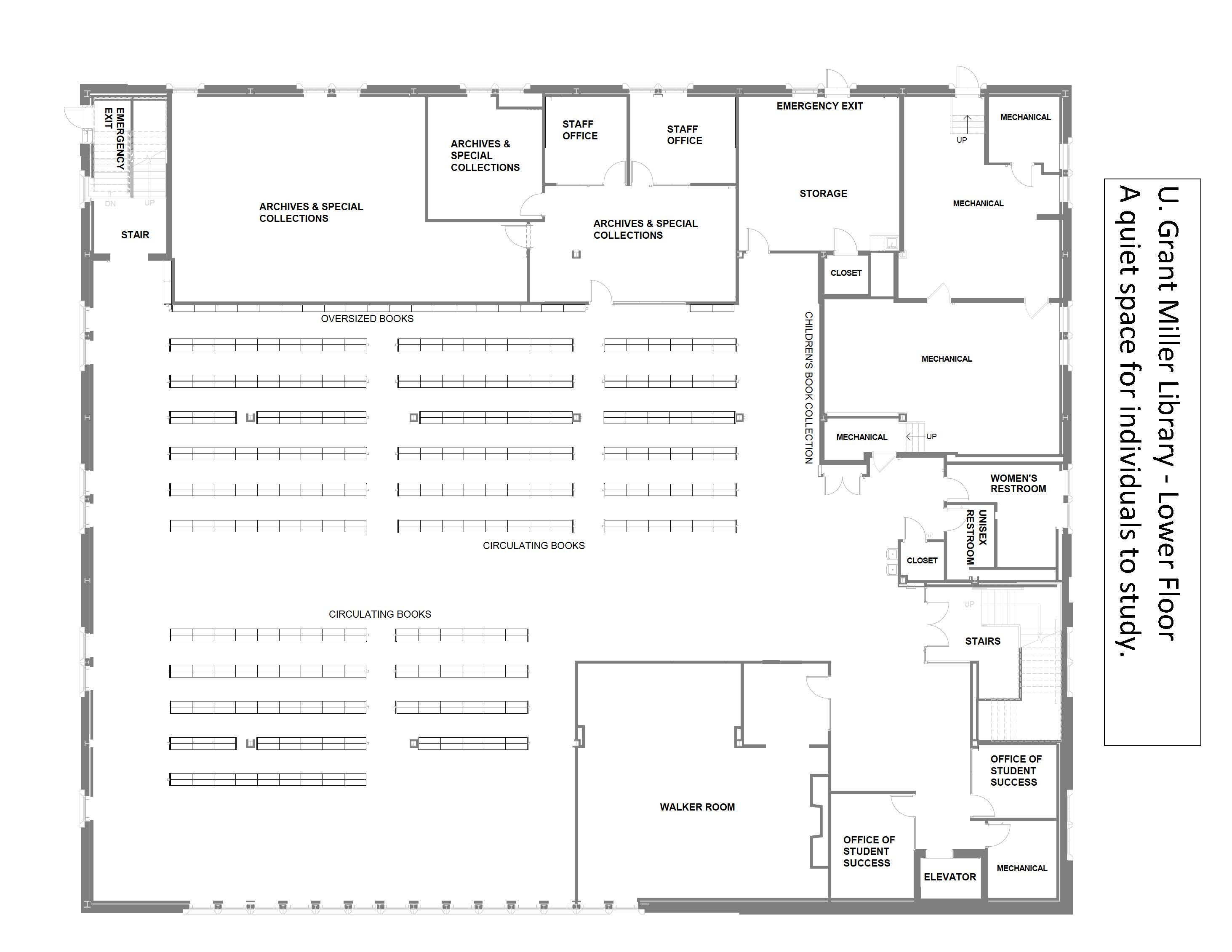 Floor plan for lower level of the library