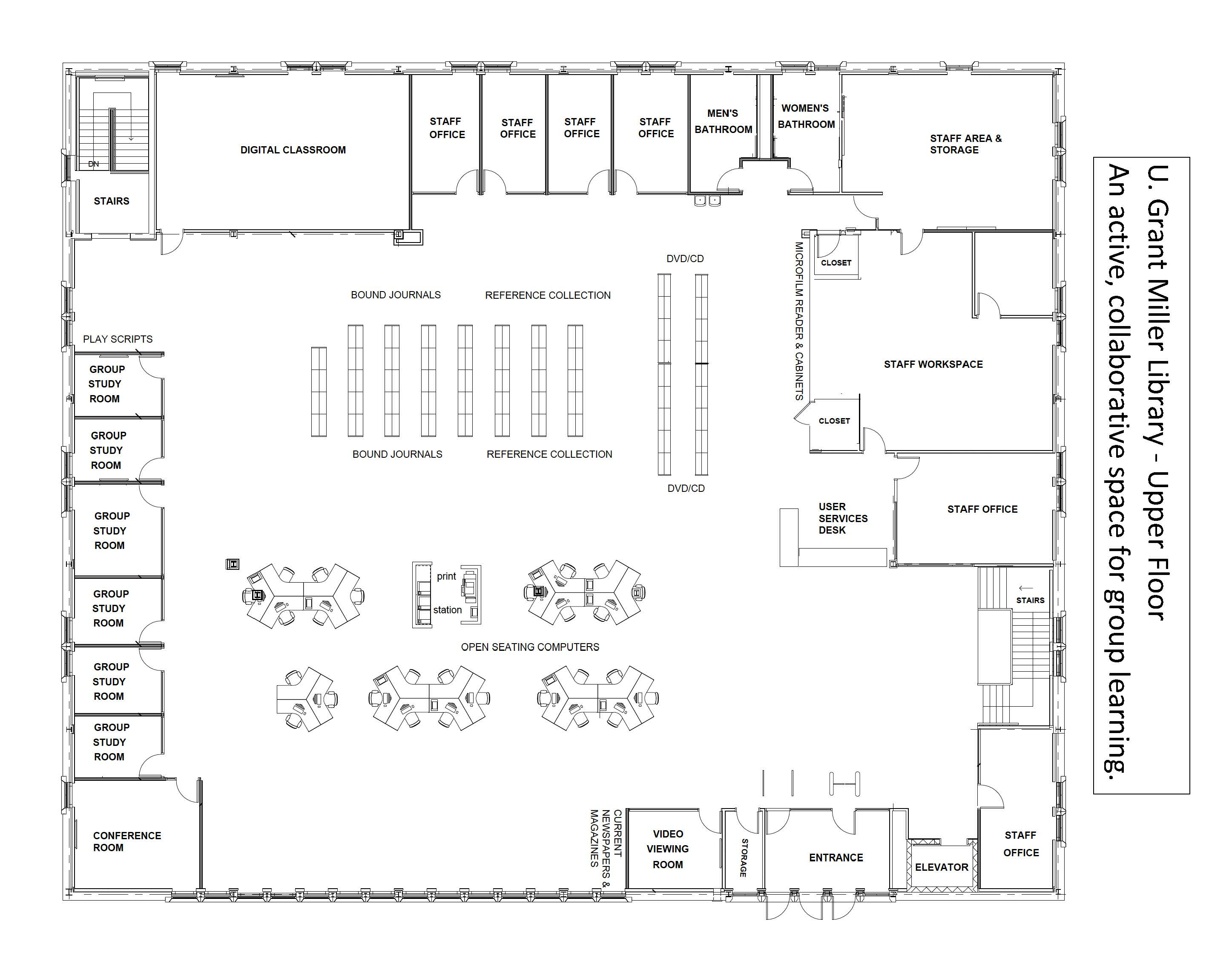 Floor plan for main level of the library