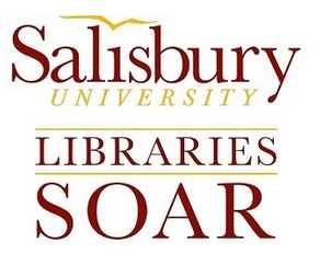 "SOAR@SU logo: Salisbury University with a seagull outline as the dot for the ""i"" over the word Libraries over the word SOAR"