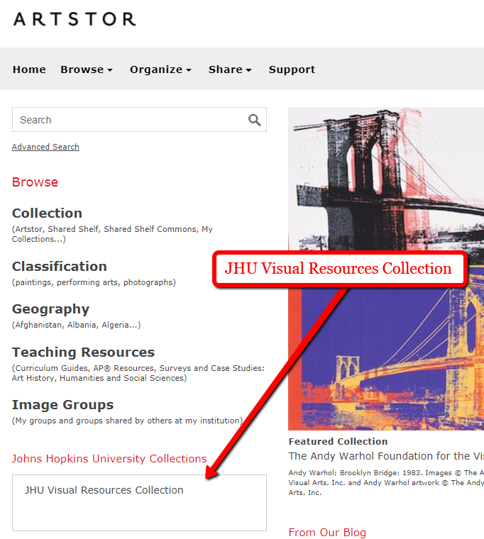 The JHU Visual Resources Collection appears under Image Groups on the Welcome page