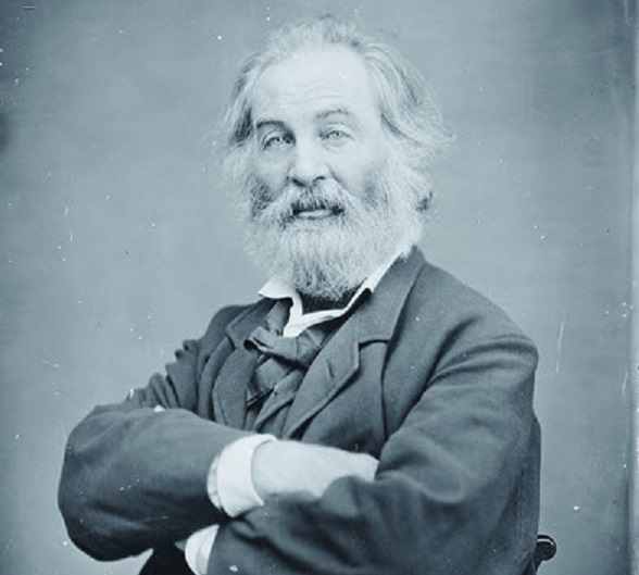 This is a portrait by Matthew Brady of Walt Whitman sitting with his arms folded