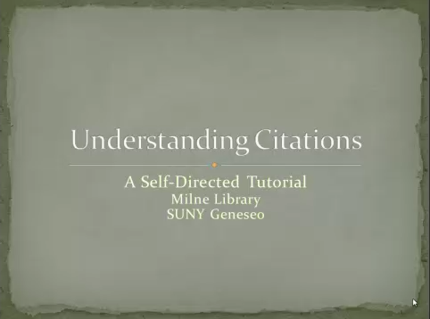 Cover slide to a tutorial on understanding citations