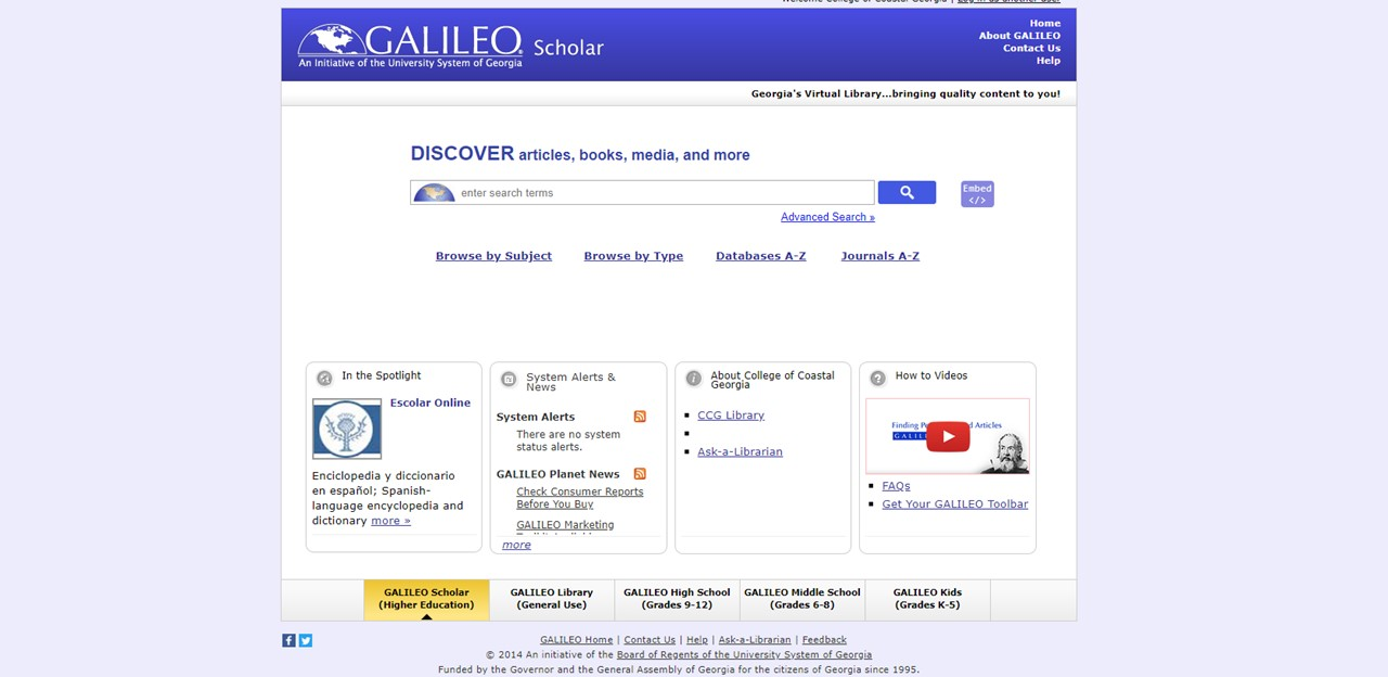 Screenshot of Galileo home page