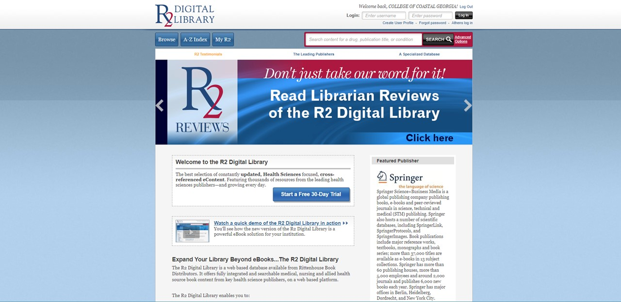 screenshot of the R2 digital library homepage