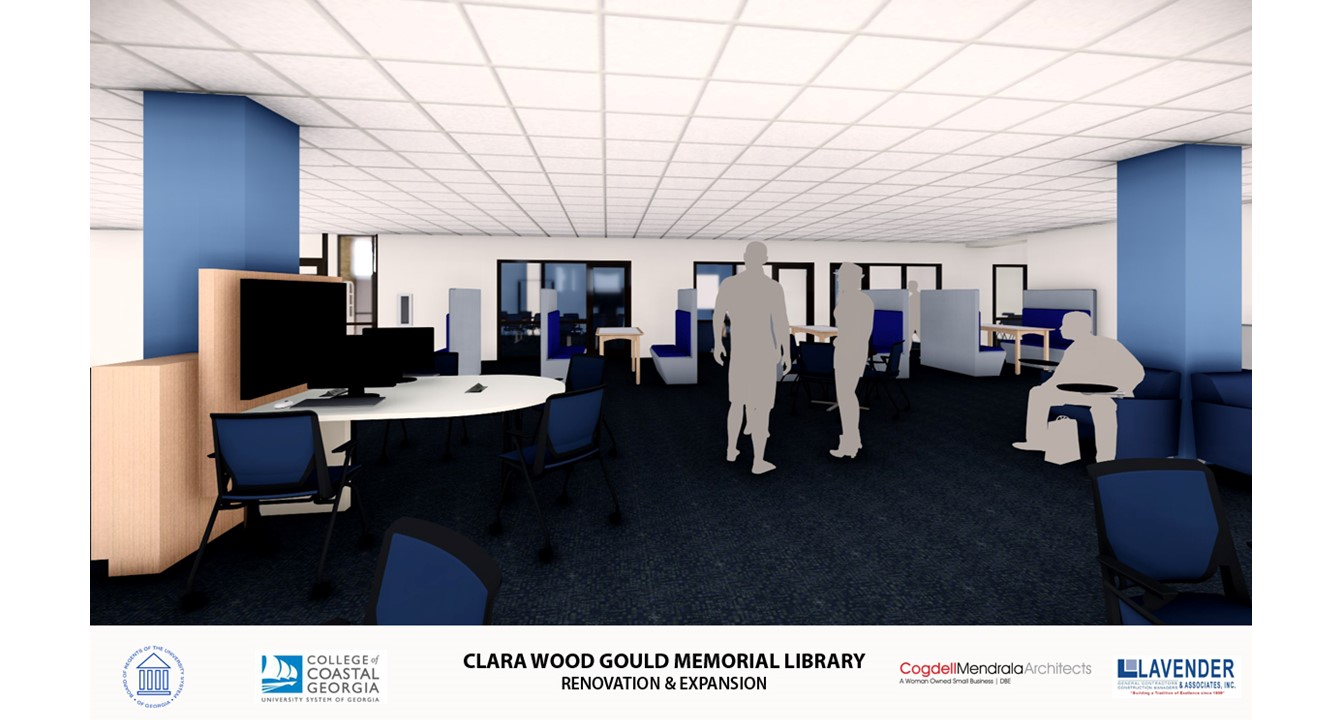 Interior of Gould library with new study rooms