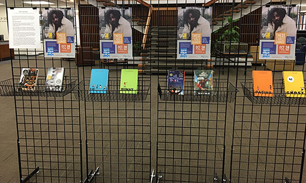 exhibit of books by author Jason Reynolds
